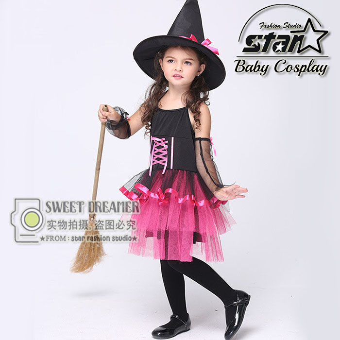 2016 New Design Halloween Carnival Children Cosplay Witch Costume Fancy Dress Ball Girls Gauze Dress With Powwow Hat 4pcs gothic halloween artificial devil vampire teeth cosplay prop for fancy ball party show