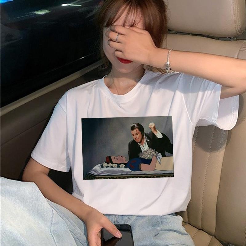 New Pulp Fiction Movie T Shirt Women Harajuku Ullzang 90s Korean T-shirt Aesthetic Funny Print Tshirt Graphic Top Tees Female 22