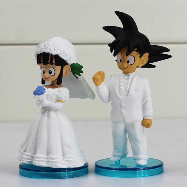 2Pcs 8cm – Dragon Ball Goku ChiChi Wedding