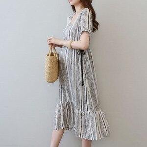 Image 3 - Vestidos de algodón para embarazo Vestidos impresos Vestidos de maternidad para mujeres embarazadas ropa de maternidad Vestidos de verano ropa