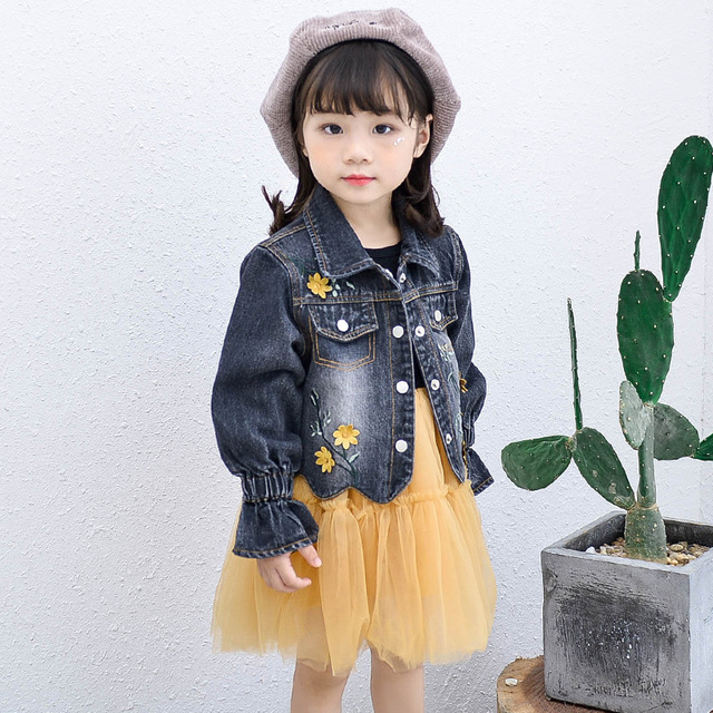 2018 otoño niño niños niña moda coreana establece Denim abrigo y vestido de  tul 2 piezas 84f595592352