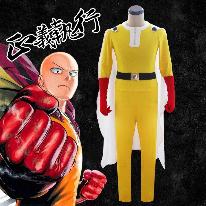 Un poinçon homme Saitama tenue uniforme Cosplay Costume de combat Costume Halloween fête porter avec cape