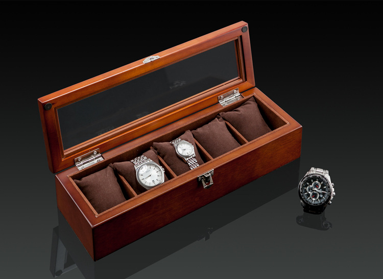 Top 5 Slots Wood Watch Box Fashion Black Watch Display Case New 2017 Watch  Storage Case Jewelry Gift Boxes C019