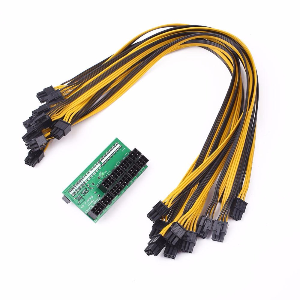 Cewaal DPS-1200FB/QB A Server Power Module Breakout Board For Power Conversion Board with 10 6P Cable Line For GPU ETH Mining server power supply 39y7296 39y7297 dps 400mb 1 a for x206m x3200 95