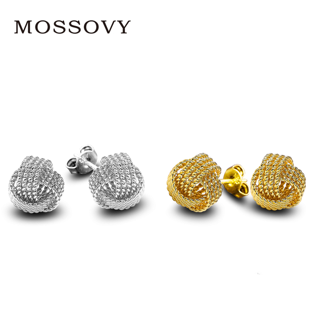 Mossovy Simple Exquisite Ornaments Silver Gold Color Tennis Net Web Accessories  Stud earrings Fashion Jewelry For Women 339a4605c4ae