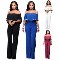 2018 Summer Ruffles Women Tube Wraps Jumpsuit Solid Color Clothing Sexy Bodysuit