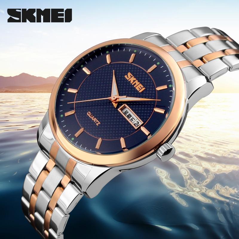 SKMEI Men Dress Watches Top Brand Luxury Men Casual Wrist Watches Stainless Steel Men Sports Watch Waterproof Relogio Masculino