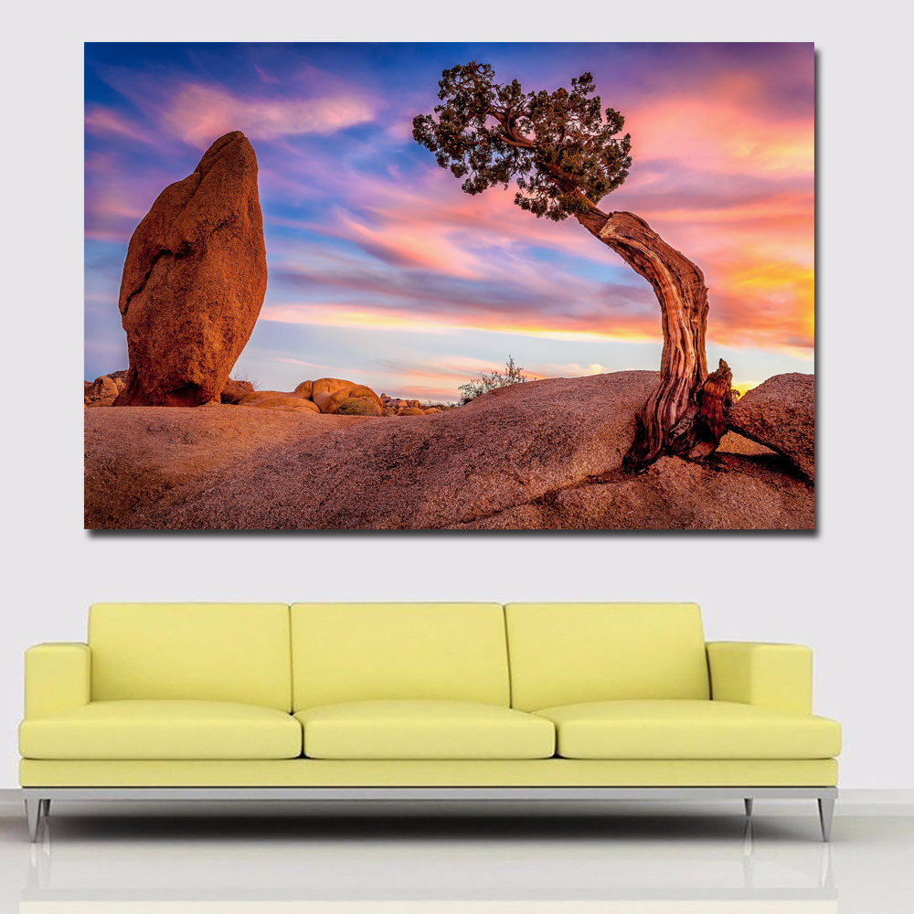 Stone And Tree Of USA Park Landscape Painting Printed On Canvas Prints Posters Home Decoration Wall Art Paintings Unframed image