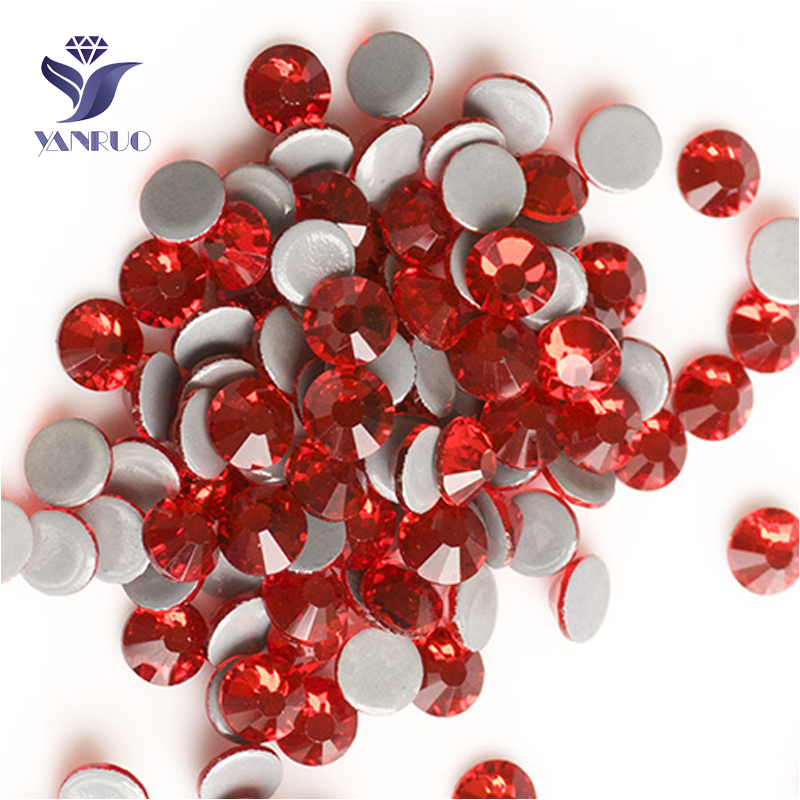 YANRUO 2058HF SS20 Light Siam 1440Pcs Flat Back Hotfix Rhinestones Crystals Strass Glass Stone For Clothes Accessories