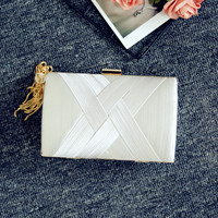 New Silk Woven Bag Fashion Crossbody Lock Evening Bag Personality Female Clutch Cylindrical Solid Color Shoulder Bag
