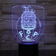 Futebol Clube do Porto LED Night Light 3D Illusion FC Porto Soccer Dragoes Logo FCP night lamp table bedside Children Kids