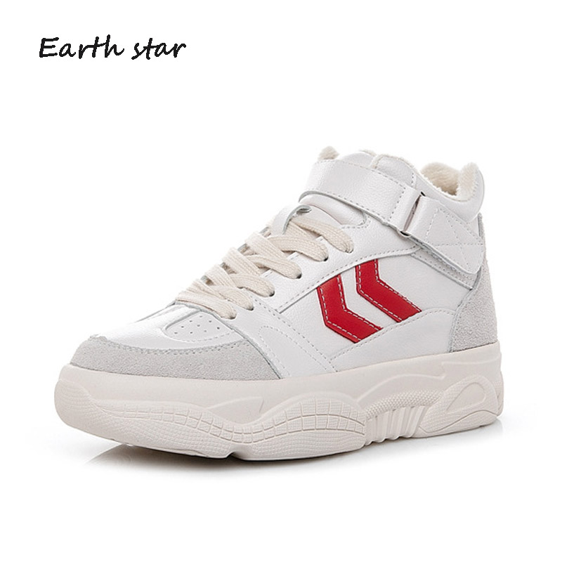 Top Noir High rouge Casual Chaussure De forme Femelle Chaussures Blanc 2019 Dame Plate Mode Marque Printemps blanc Femmes Zapatillas Mujer w4SRaq