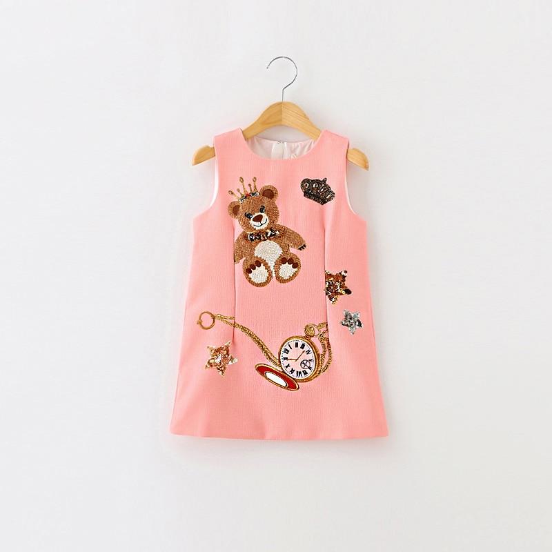 Girls Dress Summer Baby Clothes Girl Sleeveless Kids Dresses For Girls Character Bear Print Dresses Princess Dress 2