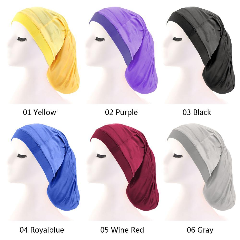 Image 2 - Women Wide Elastic Band Satin Bonnet Turban Braid Baggy Cap Hair  Care Chemo Hat Muslim Bonnet Islamic Beanies Skullies FashionWomens  Skullies