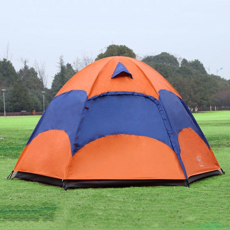 Tente de yourte mongole de 5-8 personnes avec moustiquaire imperméable à l'eau pliante séparée Double couche Camping pêche tente de plage d'été