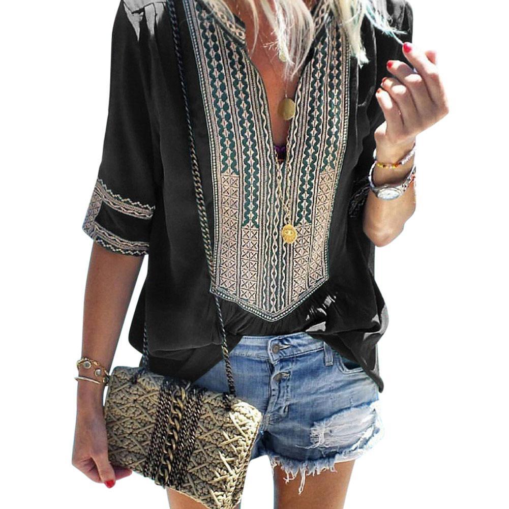 Yfashion Women Tops Summer Large Size Blouse Ethnic Style Stripe Shirts Women V-neck Casual Shirt Top Cotton Blend Femme Blouse