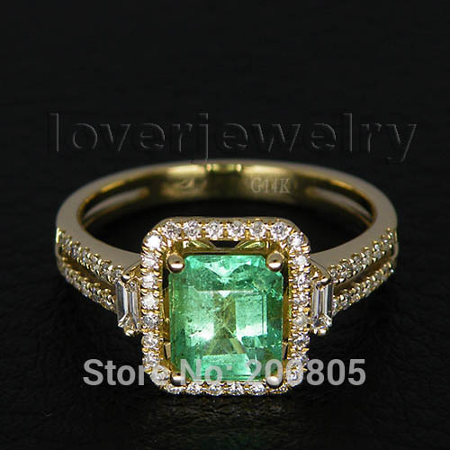 Emerald Cut 5x7mm 14Kt Yellow Solid Gold Diamond Ring,Emerald Engage Ring For Ladies G795