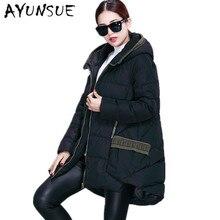 Зимняя куртка женская парка белый утиный пух толстые длинные куртки европейский стиль капюшон лоскутное зимнее пальто плюс размер 3XL HJ349