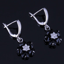 Sweet Flower Black Cubic Zirconia White CZ 925 Sterling Silver Drop Dangle Earrings For Women V0766