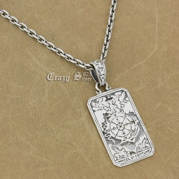 925 Sterling Silver Cross Map Dog Tag Charm Pendant 9R016 925 Sterling Silver Necklace 24 inches