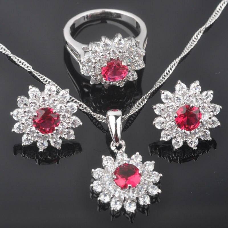 Ziemlich Rot Stein Zirkonia Frauen Silber Schmuck Sets Ohrringe/anhänger/halskette/ringe Freies Verschiffen Qz0150 Hochzeits- & Verlobungs-schmuck