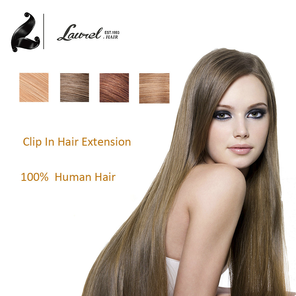Laurel Hair 100% Human Hair Extensions 70g 7Pcs 16Inch Clip In Hair Extensions Color #12 #17#27#30#33#35 Hair Color Dark Brown