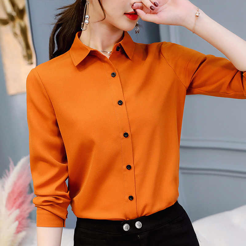 Bussiness Women's Blouse Spring Autumn Shirt Korean Bluass Elegant Office Long Sleeve Chiffon Shirts Work Blouses Plus Size Tops