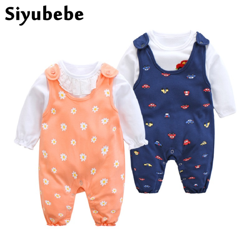 Siyubebe Baby Rompers Set Brand Cotton Long Sleeve Ropa Bebe Infant Girl Jumpsuit T Shirt + Pants 2PCS Newborn Baby Boy Clothes cute minnie baby girl romper long sleeve baby clothes roupa infantil macacao ropa bebe jumpsuit baby rompers infant clothing