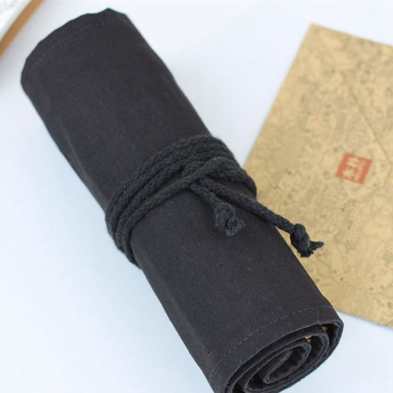 12/24/36/48/72 Holes New Paint Pencil Brush Bag Cases Pure Cotton Black Canvas Large Capacity Color Bag School Arts Supplies