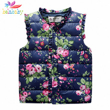 Belababy baby Girl Vest Outerwear Coats 2016 child vest Children Flower Print Jacket Kids Warm Waistcoat winter jacket for girls