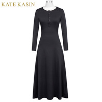 Kate Kasin Women Solid Black Grey Casual Long Vestidos 2017 Autumn Female Long Sleeve O-Neck Buttons Cotton A-Line Maxi Dress