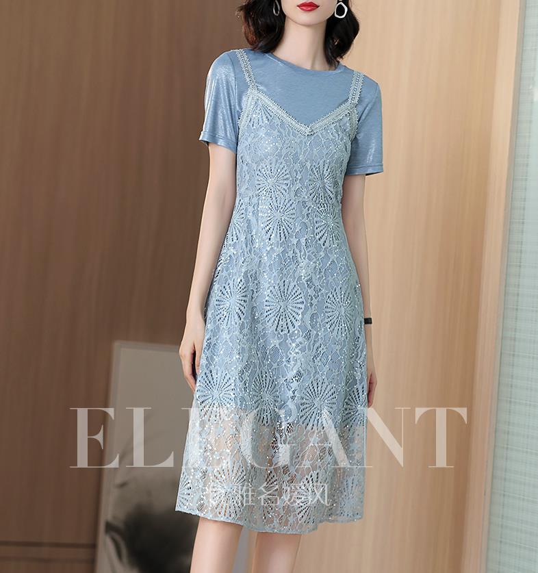 Lace two-piece vestido com suspensórios 2019 verão nova T-shirt vestido em estilo longo
