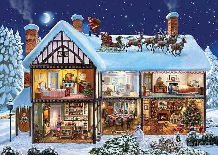 Embroidery Cross Stitch Kits Needlework Christmas Cottage Scenery Snowy day 14CT Counted Unprinted DMC DIY Arts Handmade Decor