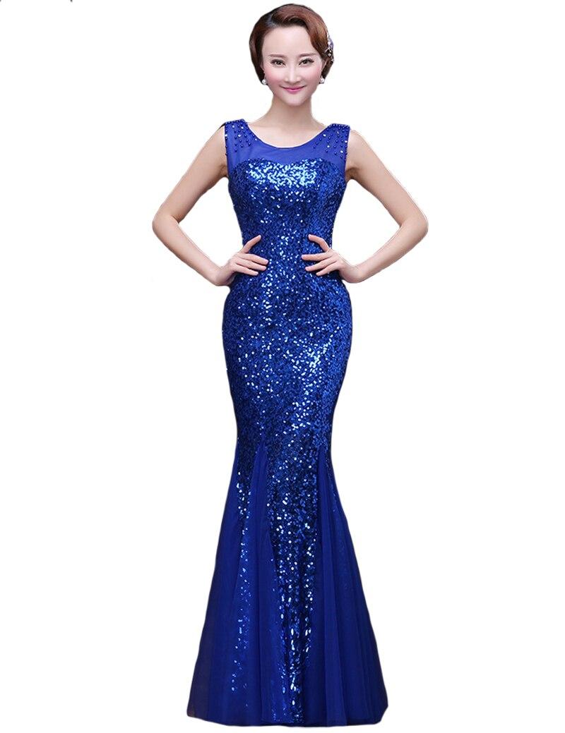 Lange Meerjungfrau Abendkleid 2015 Royal Blue Pailletten ...
