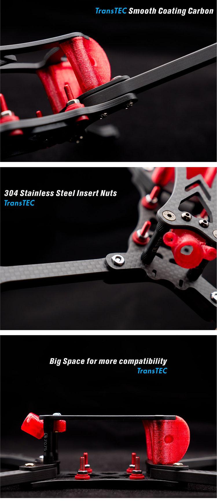 TRANSTEC LASER S 224 мм FPV Quadcopter Frame 6 мм Arm 7075 гладкий Чехол рамка из углеродного волокна для DALRC 55A 4 в 1 esc 5 дюймов реквизит