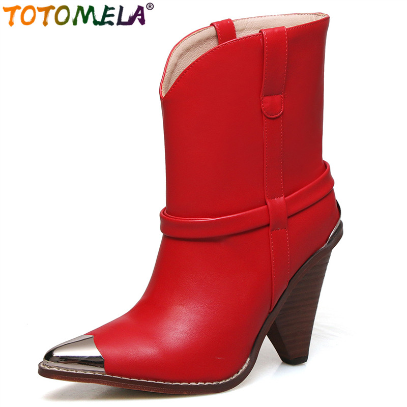 TOTOMELA 2019 Top quality full genuine leather boots women high heels autumn winter women motorcycle boots ladies ankle bootsTOTOMELA 2019 Top quality full genuine leather boots women high heels autumn winter women motorcycle boots ladies ankle boots