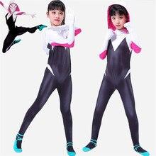 NEW 3D kids Women Gwen Stacy Spider-man Cosplay Costume Gwendolyn Maxine Stacy Spiderman Zentai hero Bodysuit Suit Jumpsuits стоимость