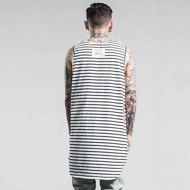 Aolamegs Tank Tops Men Extended Black White Striped Tee Sleeveless T Shirts Homme 2017 Spring Summer Hip Hop Fashion Streetwear (9)