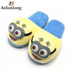 Christmas New Winter Women Slippers Cartoon Small Yellow People Warm Fluff Lovely Women's Slippers Indoor Flat Women Shoes 35-39