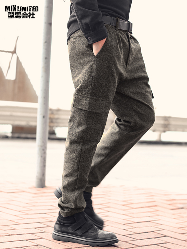 Image 2 - Men British Style Grey Casual Pockets Slim Fit Woolen Brand Suit  Pants Metrosexual Men Zipper Top Quality Straight Trousers K928Cargo  Pants
