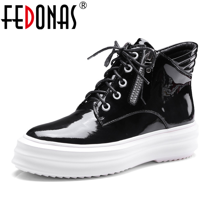 FEDONAS Euro 34-40 Women Genuine Leather Ankle Boots Sexy Platforms Lace Up Short Martin Shoes Punk Rock Boots for Woman euro style spring autumn women ankle boots platforms square heel ankle boots lace up fashion motorcycle boots martin shoes
