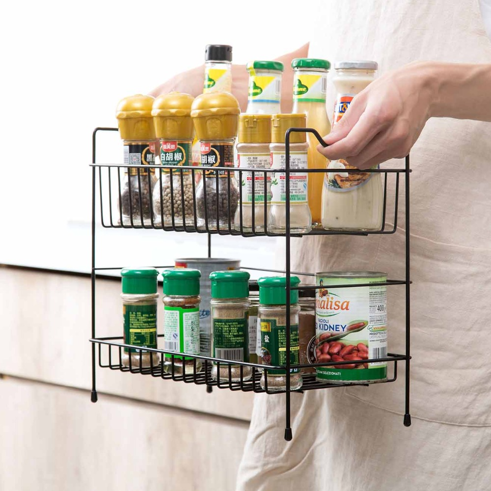 Double Layer Storage Shelf Rack Kitchen Organizer Crust Stand Spices Condiments Holder Bathroom Iron Storage Shelves Buy At The Price Of 18 16 In Aliexpress Com Imall Com