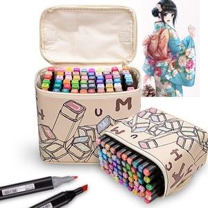 Image 1 - Rysowanie malowanie markery Pen Art podwójna końcówka na bazie alkoholu atrament dla artysty Manga na bazie Marker pędzel zestaw papeterii zakreślacz