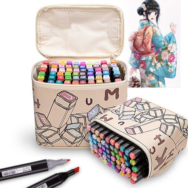 Rysowanie malowanie markery Pen Art podwójna końcówka na bazie alkoholu atrament dla artysty Manga na bazie Marker pędzel zestaw papeterii zakreślacz