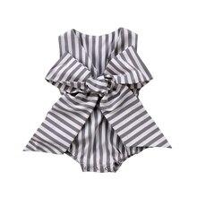 Симпатичные Новорожденный ребенок Обувь для девочек бант в полоску комбинезон одежда Летний Сарафан Одежда для малышей
