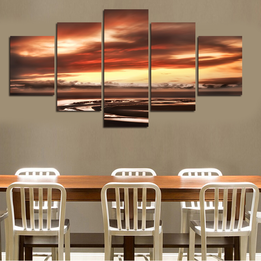 2017 Direct Selling Fallout Wall Art 5pcs The Setting Sun Kindled Sky Oil Painting Canvas On For Home Decor Wall Without Frame