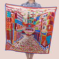 [15% OFF] Ciudad castillo 90 cm Elegante abrigo de Las Mujeres de seda Pura Bufanda de Seda Cuadrada grande,, satén de crepe de seda liso cuadrados bufandas
