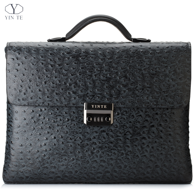 YINTE Leather Men's Briefcase Black Bag Fashion Business Messenger Totes Laptop Bag Ostrich Prints Men's Portfolio T8518-6 yinte leather men s briefcase black bag fashion business messenger totes laptop bag ostrich prints men s portfolio t8518 6