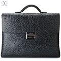 YINTE Leather Men's Briefcase Black Bag Fashion Business Messenger Totes Laptop Bag Ostrich Prints Men's Portfolio T8518-6