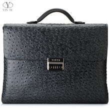 YINTE Leather Men's Briefcase Black Bag Fashion Business Messenger Totes Laptop Bag Ostrich Prints Men's Portfolio T8518-6